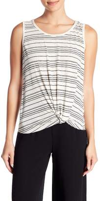 Max Studio Striped Knotted Hem Tank