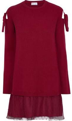 RED Valentino Cold-shoulder Point D'esprit-paneled Wool Mini Dress