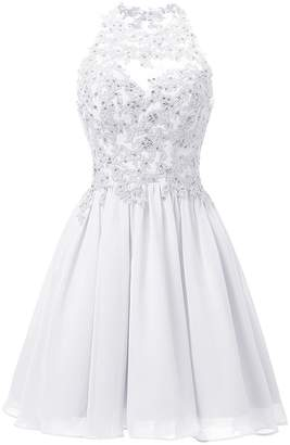 Cdress Chiffon Short Homecoming Dresses Cocktail Prom Dress Appliques Junior Formal Evening Gowns US
