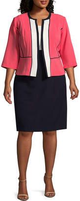 Studio 1 3/4 Sleeve Colorblock Jacket Dress - Plus