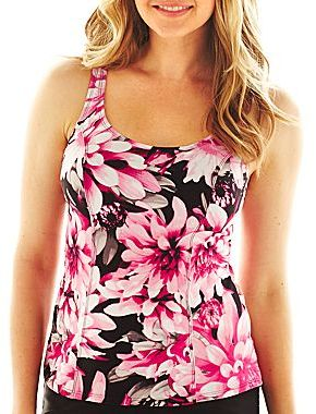 JCPenney St. John's Bay® Floral Print Princess Seam Tankini Swim Top