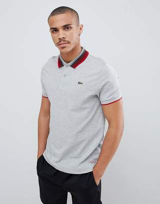Lacoste Sport tipped collar polo in gray