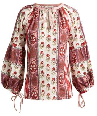 D'Ascoli Creole Cotton Blouse - Womens - Red Print
