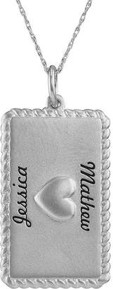 JCPenney FINE JEWELRY Personalized 10K White Gold Rectangular Puffed Heart Pendant Necklace