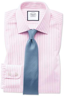 Charles Tyrwhitt Classic Fit Pink and White Dobby Textured Stripe Cotton Dress Shirt Single Cuff Size 15.5/33