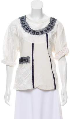Richard Chai Embellished Short Sleeve Top