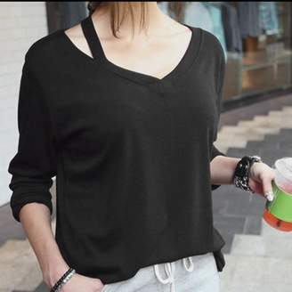 Cocasasa Summer Women'S Loose Long Sleeve Round Collar Clothing Off Shoulder Cotton Blend Ladies Solid Casual Blouse Shirt Tops
