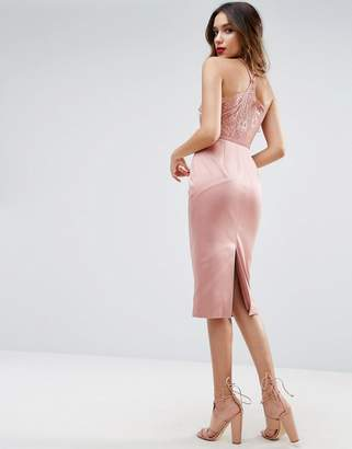 Asos Lace Insert Cami Midi Pencil Dress