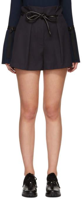 Navy Origami Pleat Shorts