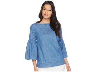 Lauren Ralph Lauren Denim Bell Sleeve Top