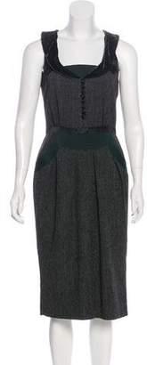 Etro Velvet-Trimmed Wool-Blend Dress