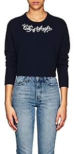"ADAPTATION Women's ""City Of Angels"" Embroidered Cashmere Crop Sweater - Navy"