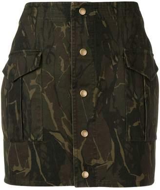 Saint Laurent fitted camo print skirt