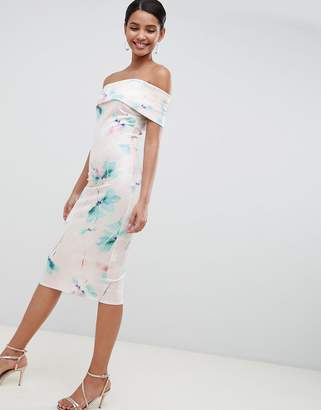 City Goddess Floral Off Shoulder Pencil Midi Dress