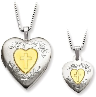 Sterling Gold-Plated Heart Locket & Child's Pendant Set