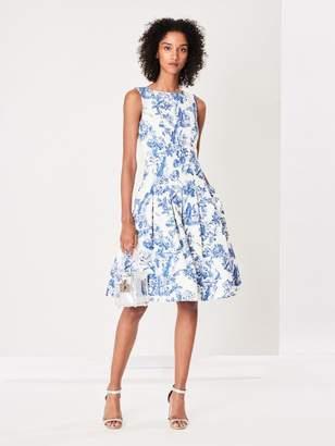 Oscar de la Renta Floral Toile Textured Cotton Dress