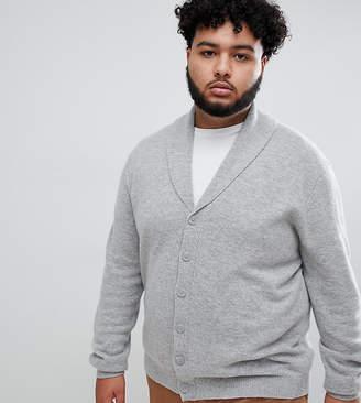 Asos Design DESIGN Plus lambswool shawl cardigan in light grey