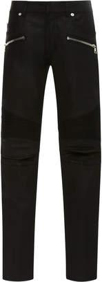 Balmain Skinny-Fit Zip-Detailed Distressed Stretch-Denim Jeans