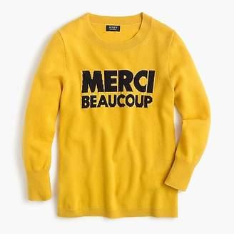 "J.Crew Everyday cashmere crewneck sweater with ""Merci Beaucoup"""