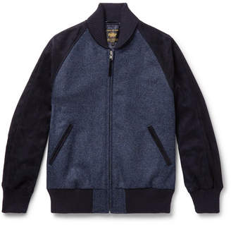 GoldenBear Golden Bear - The Griffith Wool-Tweed and Suede Bomber Jacket - Men - Navy
