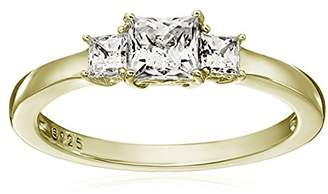 fa0074c97 Swarovski La Lumiere Yellow gold- Plated Sterling Silver Zirconia 1 cttw  Princess 3 Stone Ring