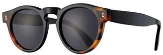 Illesteva Leonard Monochromatic Round Two-Tone Sunglasses, Brown Tortoise/Black $177 thestylecure.com
