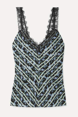 Jason Wu Lace-trimmed Printed Crepe Camisole - Black