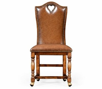 """Jonathan Charles Fine Furniture High Back Playing Card """"Heart"""" Genuine Leather Upholstered Dining Chair Jonathan Charles Fine Furniture"""