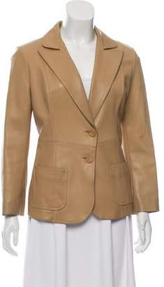 Plein Sud Jeans Leather Peak Lapel Blazer