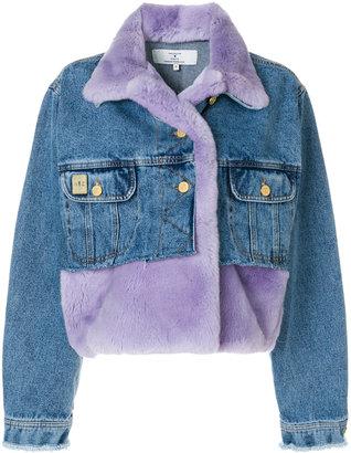 cropped panelled denim jacket