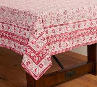 Pottery Barn Block Print Climbing Floral Tablecloth - Pink