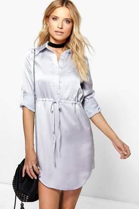 boohoo Satin Drawstring Waist Shirt Dress