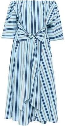 Tome Off-the-shoulder Striped Stretch-cotton Midi Dress