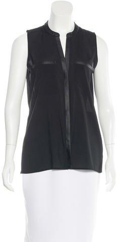 Calvin Klein Sleeveless Button-Up Top