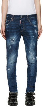 Dsquared2 Blue Distressed Skinny Jeans $590 thestylecure.com