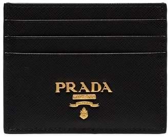 Prada black gold logo card holder