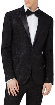 Men's Topman Ultra Skinny Fit Jacquard Leaf Tuxedo Jacket $300 thestylecure.com