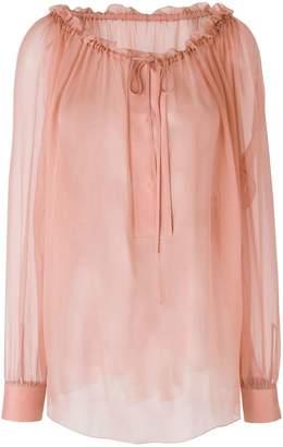 Alberta Ferretti sheer flared blouse