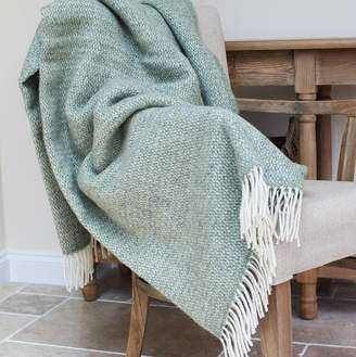 Marquis & Dawe Green And Grey Woven Wool Throw