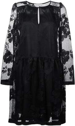 See by Chloe floral embroidered mesh dress