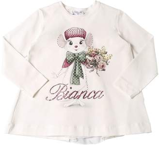MonnaLisa Bianca Print Cotton Interlock T-Shirt