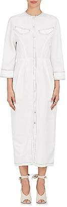 Derek Lam WOMEN'S LINEN-BLEND SNAP-FRONT SHIRTDRESS - WHITE SIZE 42 IT