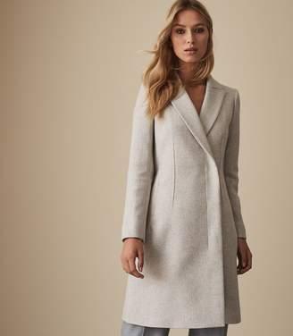 Reiss SANTHIA WOOL BLEND DOUBLE BREASTED COAT Grey Melange