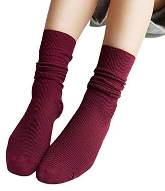 Blend of America dds5391 Women Soft Knitting Socks Casual Cotton Middle Tube Stockings
