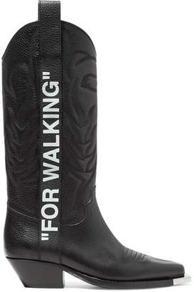 Off-White For Walking Embroidered Printed Textured-leather Knee Boots - Black
