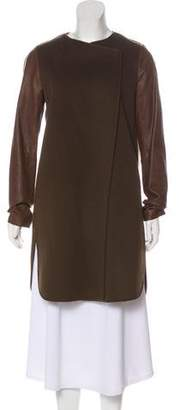 Vince Leather & Wool Coat