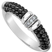 Lagos Black Caviar Diamond Tapered Ring, 3mm