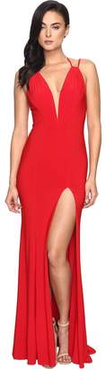 Faviana Jersey V-Neck/Adjust Back Slit Skirt 7920 Women's Dress