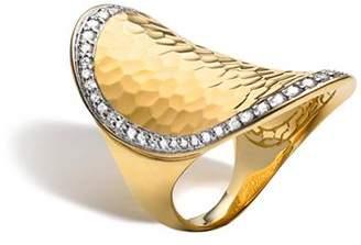 John Hardy Palu 18K Gold & Diamond Pavé Oval Saddle Ring
