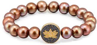 Sydney Evan Brown Potato Pearl Bracelet with Sapphire & Diamond Lotus Station